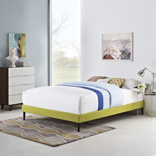Sherry Wheatgrass Fabric Bed Frame with Round Tapered Legs