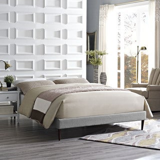 Sherry Light Gray Fabric Bed with Round Tapered Legs