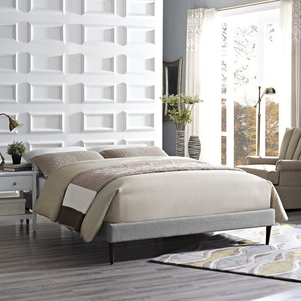 aa96502fc6df Shop Sherry Light Gray Fabric Bed with Round Tapered Legs - Free ...