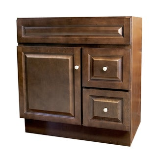 Richmond Auburn Satin Nickel/Stained Wood 30-inch x 21-inch Bathroom Vanity