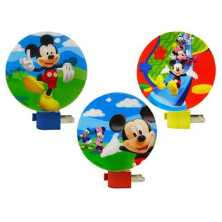 Disney Mickey Mouse Multicolored Plastic Wall Nightlights (Pack of 3)