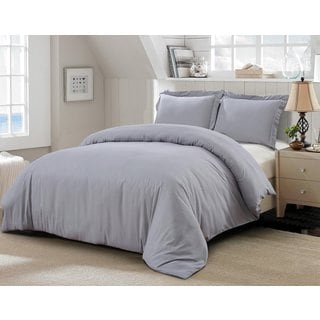 Word of Dream 3-piece Brushed Microfiber Solid Duvet Cover Set