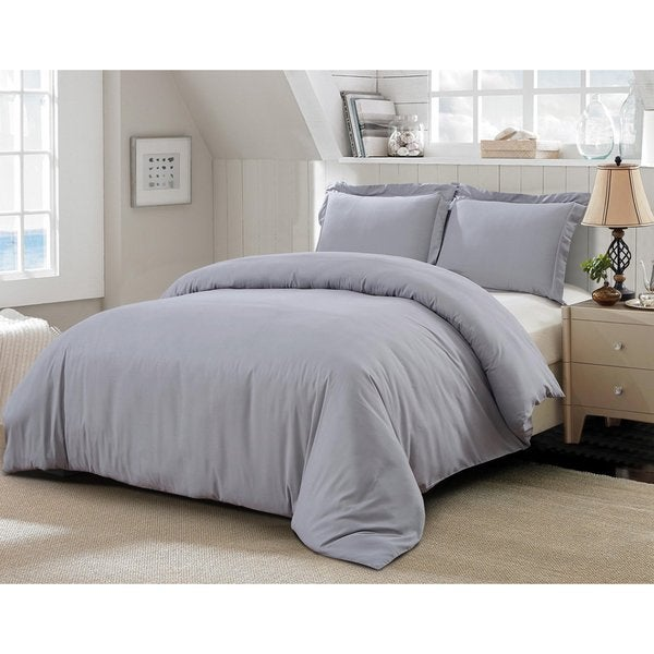 Word Of Dream 3 Piece Brushed Microfiber Solid Duvet Cover Set