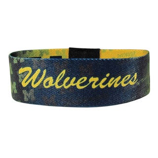 NCAA Blue/ Yellow Stretch Fabric Michigan Wolverines Bracelet