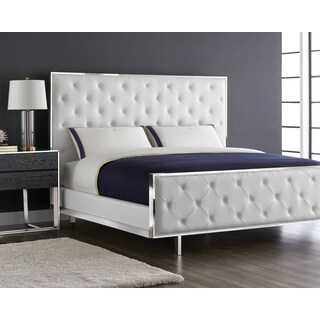White Bonded Leather King Tallahassee Bed
