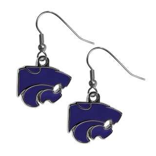 NCAA Kansas St. Wildcats Chrome Dangle Earrings