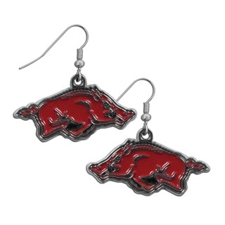 NCAA Arkansas Razorbacks Sports Team Logo Chrome Dangle Earrings