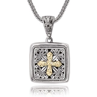 Avanti Sterling Silver 18K Yellow Gold Filigree Square Shape Pendant with Cross Design Necklace