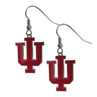 NCAA Indiana Hoosiers Chrome Sports Team Logo Dangle Earrings