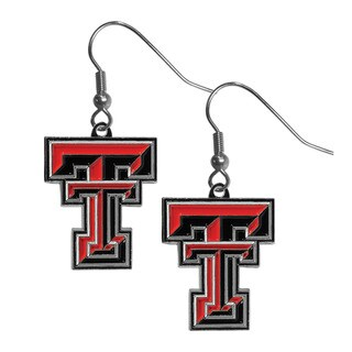 NCAA Texas Tech Raiders Black/Red Chrome Dangle Earrings