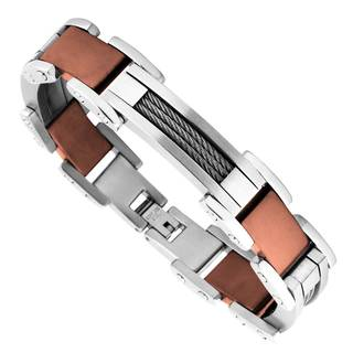 Men's Stainless Steel Brown Plated Link Bracelet|https://ak1.ostkcdn.com/images/products/12835710/P19601519.jpg?impolicy=medium
