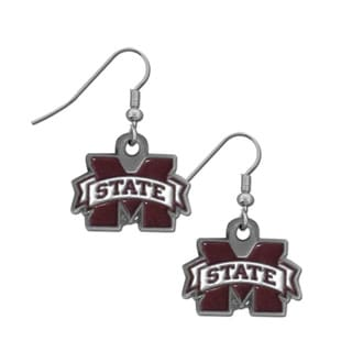 NCAA Women's Red and Chrome Mississippi St. Bulldogs Dangle Earrings