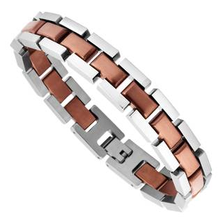 Men's Stainless Steel Bracelet with Brown Plating