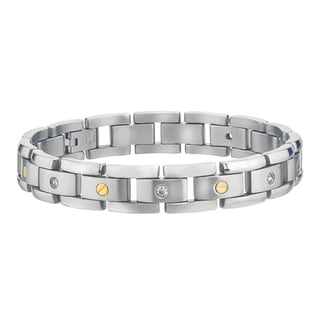 Stainless Steel Men's 1/6ct TDW Diamond Bracelet (H-I, I2-I3)