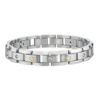 Stainless Steel Men's 1/6ct TDW Diamond Bracelet By Ever One (H-I, I2-I3)