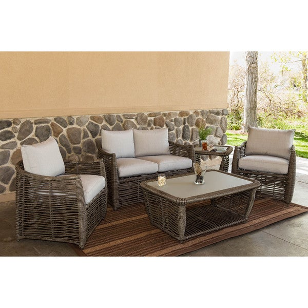 Somette Amalfi 5 Piece Outdoor Wicker Patio Set Free Shipping Today Overs
