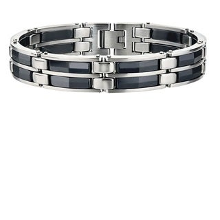 Stainless Steel Black Ceramic Men's Bracelet By Ever One