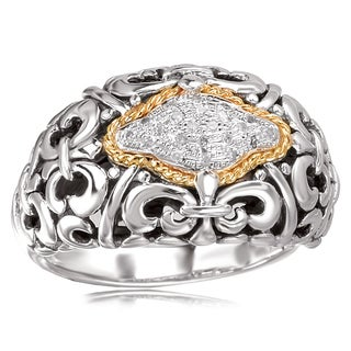 Avanti Sterling Silver and 18K Yellow Gold 1/8 CT TDW Diamond Filigree and Rope Design Fashion Statement Ring