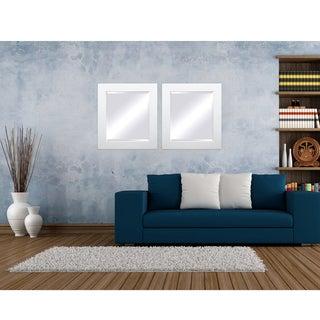 Framed Beveled Mirror - White