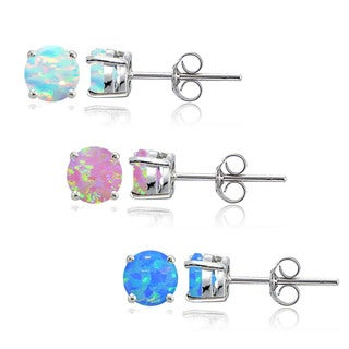 Glitzy Rocks Sterling Silver Multi Color Created Opal Set of 3 Round Stud Earrings Set, 4mm