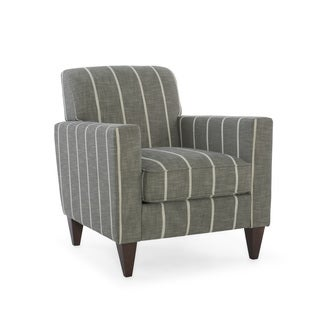 Homeware Alton Grey/White Upholstered Striped Arm Chair