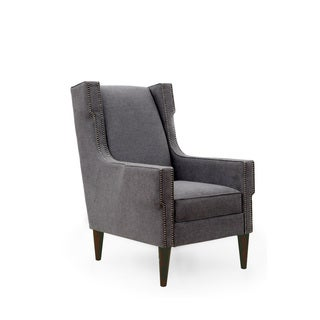 Homeware Clement Grey Upholstered Wood Arm Chair