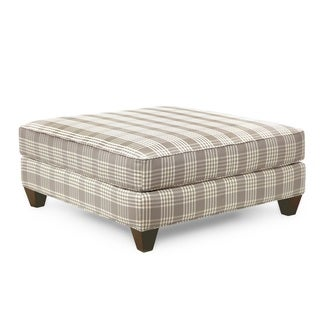 Homeware Taylor Pebble Wood and Fabric Square Ottoman