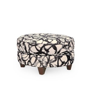 Homeware Darcy Espresso/White/Black Wood and Fabric Round Ottoman