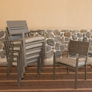 Somette Kaufmann Aluminum Stackable Dining Chairs with Cushion (Set of 6)