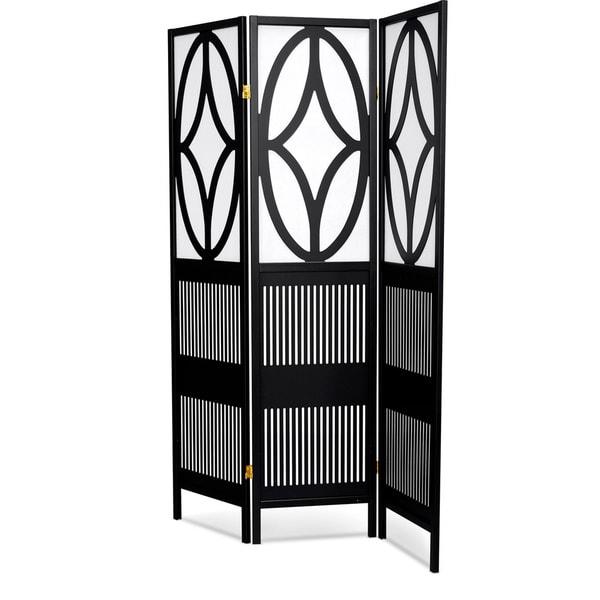 Shop LYKE Home Black White Wood Art Deco Tri fold Room Divider
