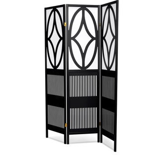 Lyke Home Black/White Wood Art Deco Tri-fold Room Divider