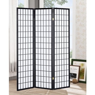 Lyke Home Black Wood Tri-Fold Room Divider