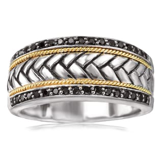 Avanti Sterling Silver and 18K Yellow Gold 1/4 CT TDW Black Diamond Braided Design Wide Band Ring
