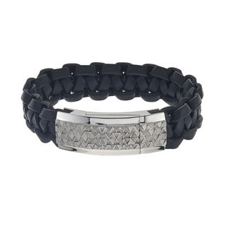 Stainless SteelMen's Stainless Steel ID Leather Bracelet By Ever One (,)