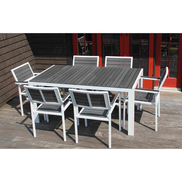 7-piece Winston Grey and White Outdoor Dining Set - Free Shipping ...