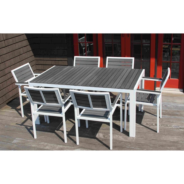 DISCONTINUED 7 Piece Winston Grey And White Outdoor Dining Set