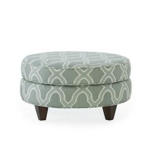 Bellemy Seafoam Fabric/Wood Round Ottoman