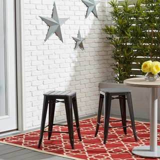 Outdoor Tabouret Counter Stool with Wood Slat Seat Charcoal (Set of 2)