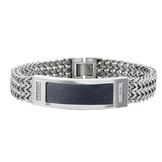 Stainless Steel Diamond Men's ID Bracelet By Ever One