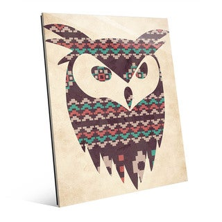 'Tribal Owl' Multicolor Glass Abstract Wall Art
