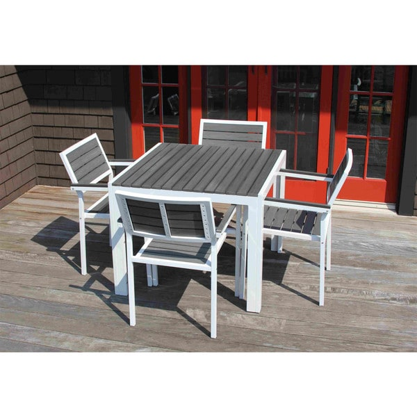 Winston Outdoor Powder Coated White Aluminum Grey 5 Piece Dining Set