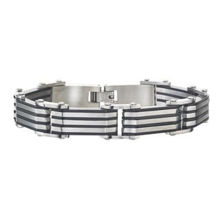 Men's Stainless Steel Black Striped Bracelet By Ever One