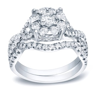 Auriya Platinum 1ct TDW Cluster Diamond Braided Bridal Ring Set (H-I, SI1-SI2)