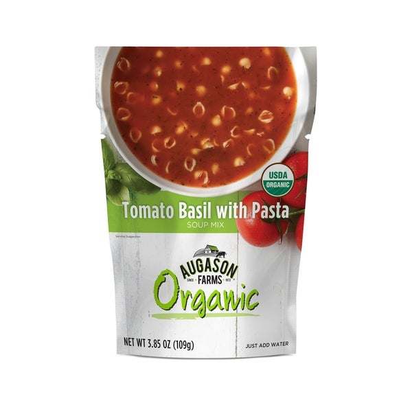 Augason Farms Organic Tomato Basil with Pasta Soup Mix 3.85 oz. 6 Pack Pouch