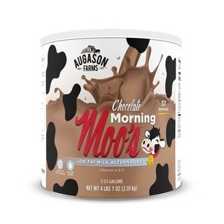 Augason Farms Morning Moo's Chocolate Low Fat Milk Alternative 4 lbs 7 oz No. 10 Can