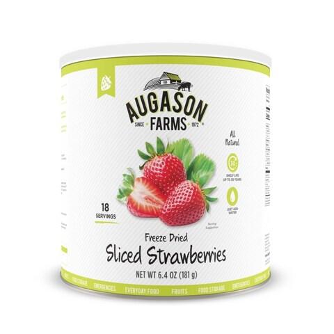Augason Farms Freeze Dried Sliced Strawberries 6.4 oz No. 10 Can