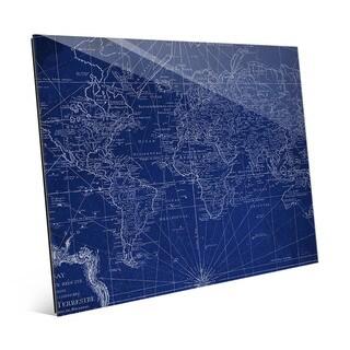 World Geography Map Glass Wall Art