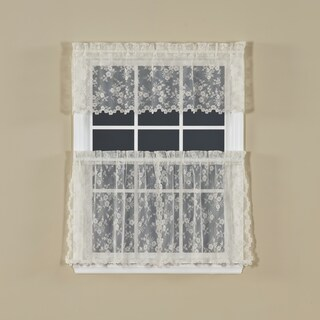 Saturday Knight White Lace Window Curtain (2-piece Set) (Option: Ivory)