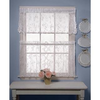 Saturday Knight White Lace Window Curtain (2-piece Set)