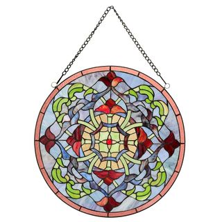 Warehouse of Tiffany Fineena Stained-glass 20-inch Window Panel with Hanging Chain - M